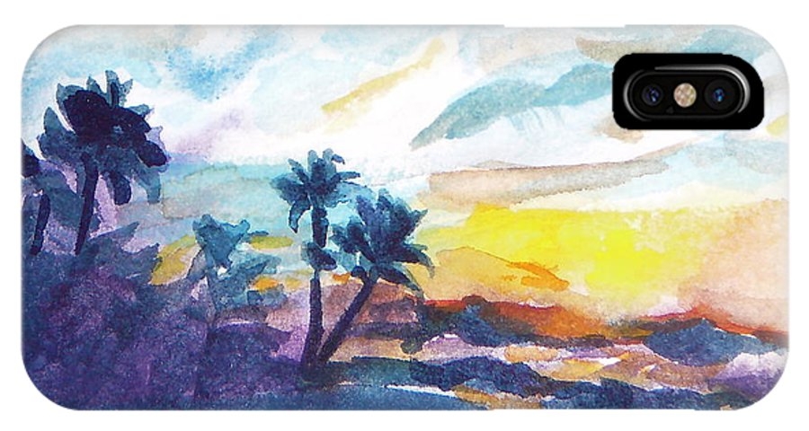 Landscape IPhone Case featuring the painting Sunset In Hawaii by Jan Bennicoff