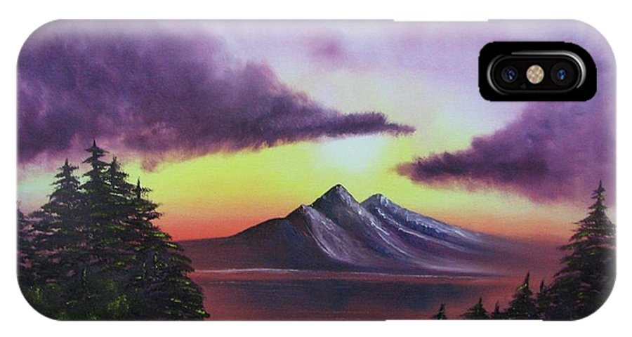 Sunset IPhone X Case featuring the painting Sunset In Mountains Original Oil Painting by Natalja Picugina