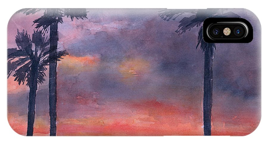 Sunset IPhone X Case featuring the painting Sunset In The Tropics by Arline Wagner