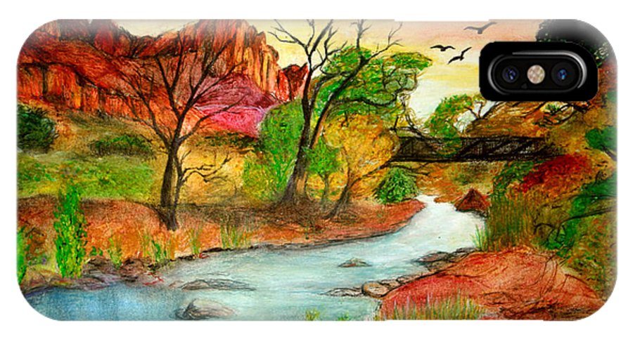Zion IPhone X Case featuring the drawing Sunset In Zion by Joanna Aud