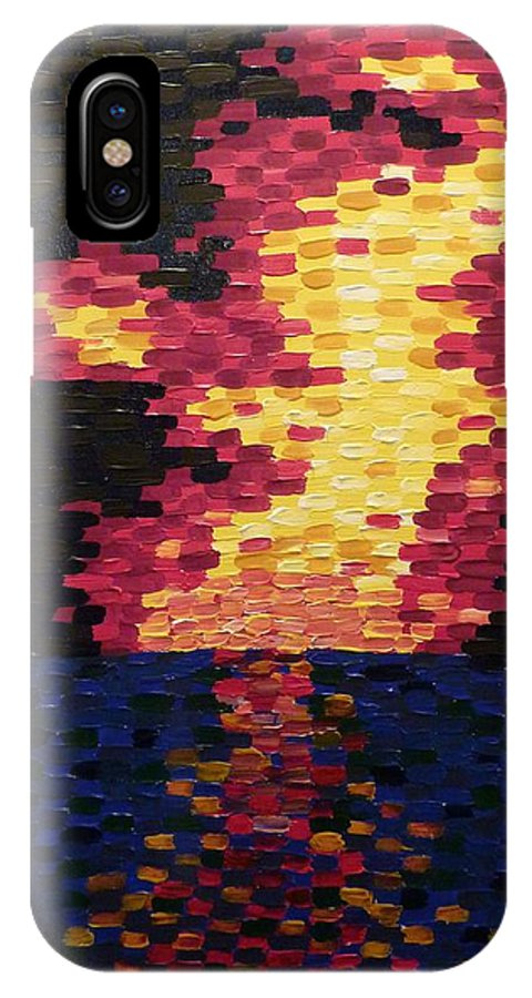 Sun IPhone X Case featuring the painting Sunset by Joshua Redman