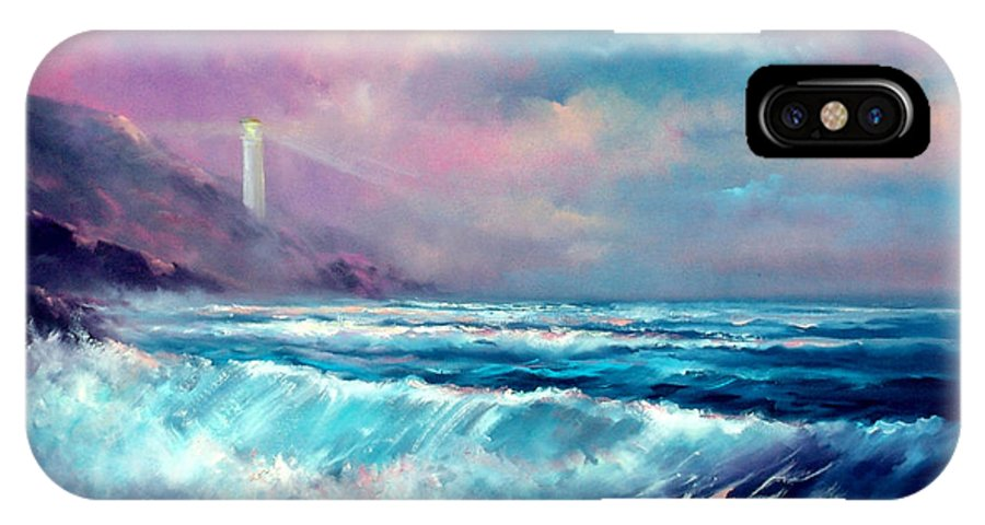 Ocean IPhone Case featuring the painting Sunset Lighthouse by Sally Seago