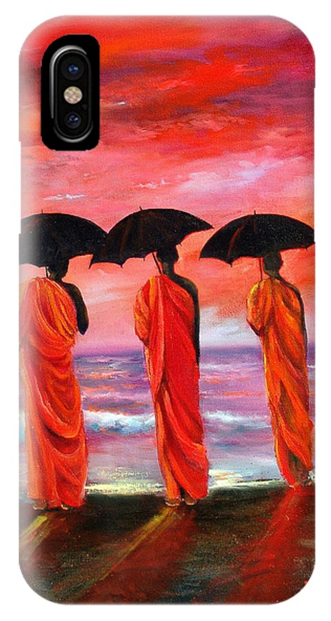Monks IPhone Case featuring the painting Sunset Meditation by Sally Seago