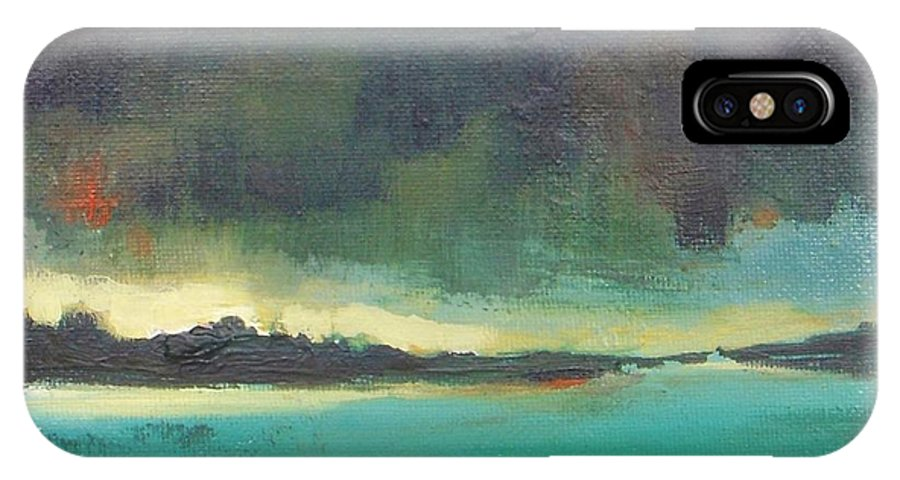 Landscape IPhone X Case featuring the painting Sunset On Blue Danube by Vesna Antic