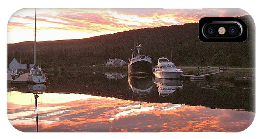 Caledonian Canal IPhone X / XS Case featuring the photograph Sunset On Caledonian Canal by Laurence Northcote