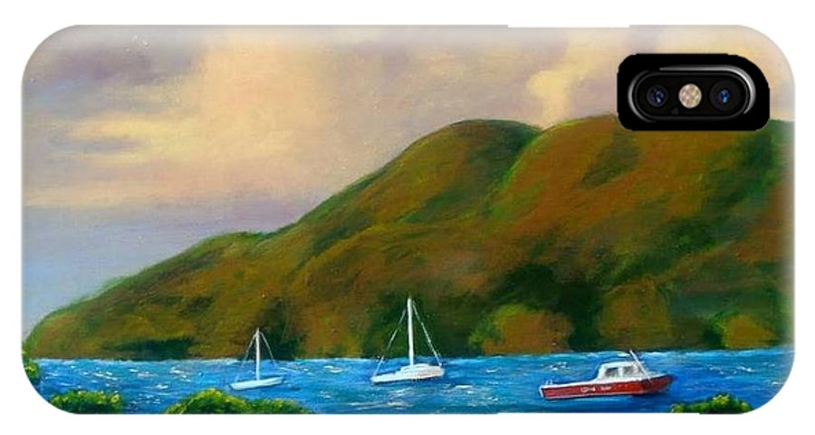 Sunset IPhone X Case featuring the painting Sunset On Cruz Bay by Laurie Morgan
