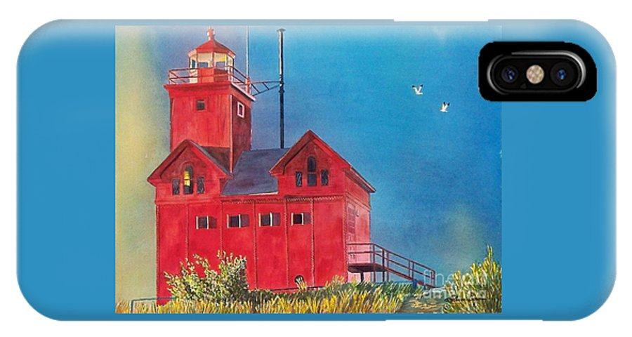 Lakes IPhone X Case featuring the painting Sunset On Holland Light by LeAnne Sowa