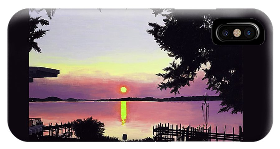 Sunset On Lake IPhone Case featuring the painting Sunset On Lake Dora by Judy Swerlick