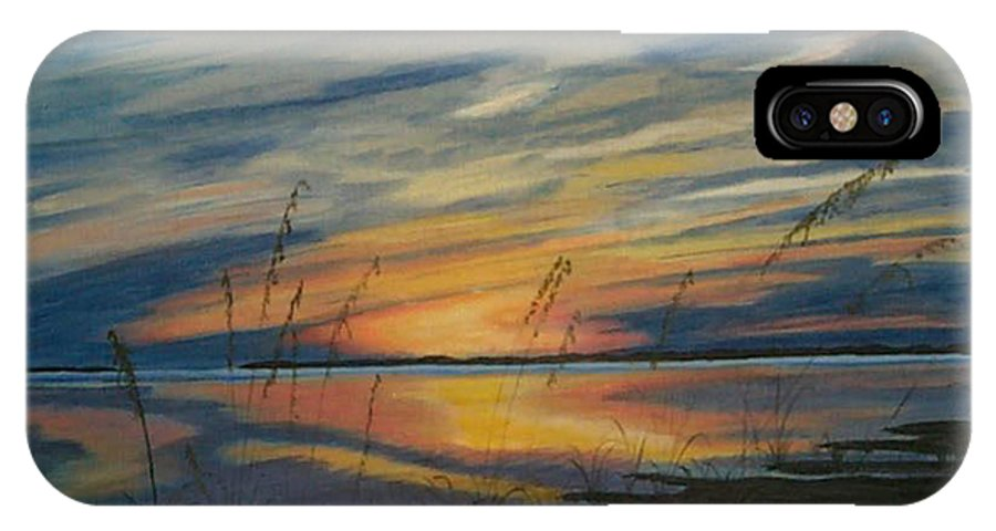 Sunset IPhone X Case featuring the painting Sunset On St. Andrew by Nancy Nuce