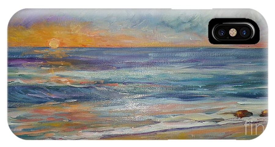 Sunset On The Beach IPhone X Case featuring the painting Sunset On The Beach by Lisa McKnett