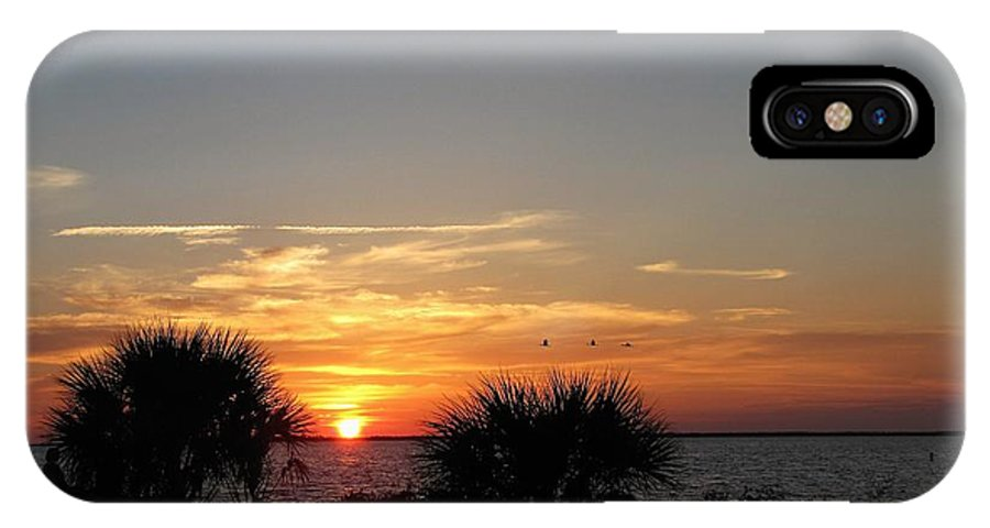 Sunset IPhone X Case featuring the photograph Sunset On The Gulf Of Mexico by Nancy Hopkins