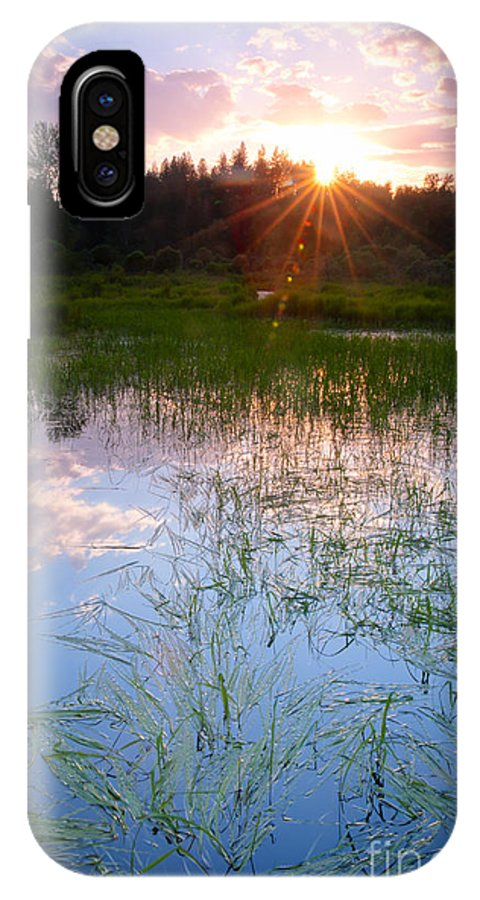 Marsh IPhone X Case featuring the photograph Sunset On The Marsh by Idaho Scenic Images Linda Lantzy