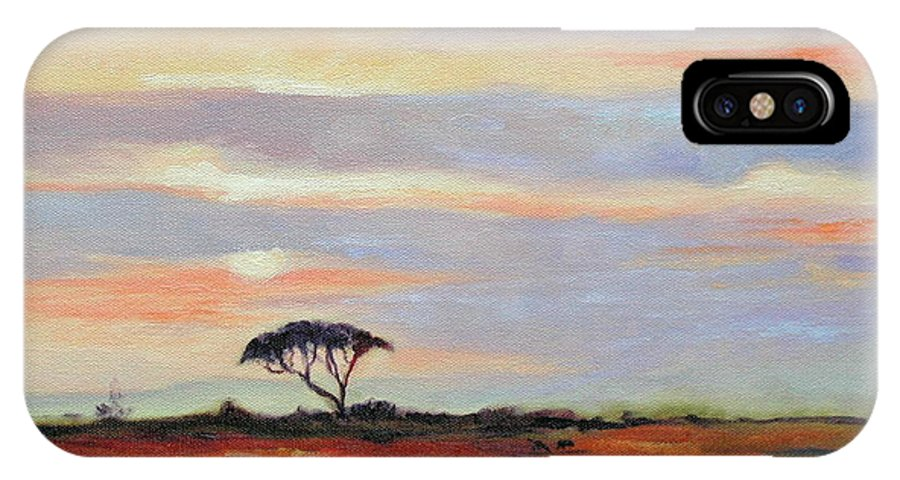 Landscape IPhone X Case featuring the painting Sunset On The Serengheti by Ginger Concepcion