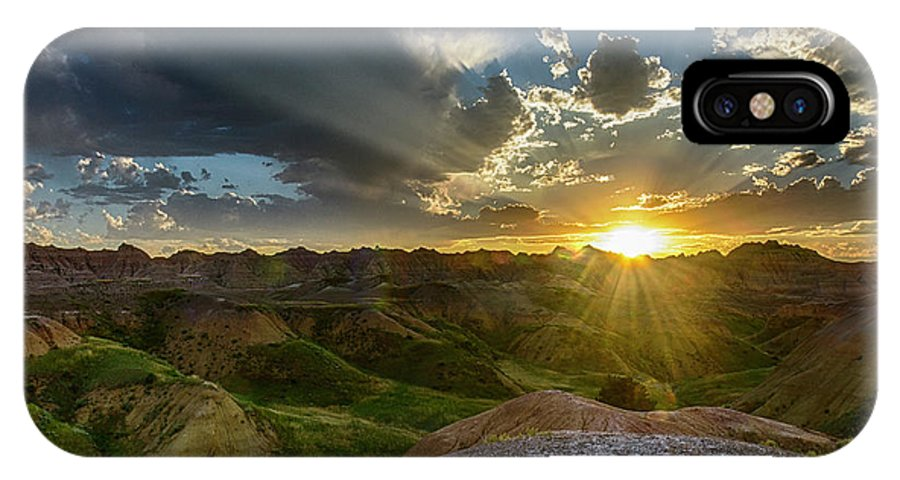 Badlands IPhone X Case featuring the photograph Sunset Over Badlands Np Yellow Mounds Overlook by Donald Pash