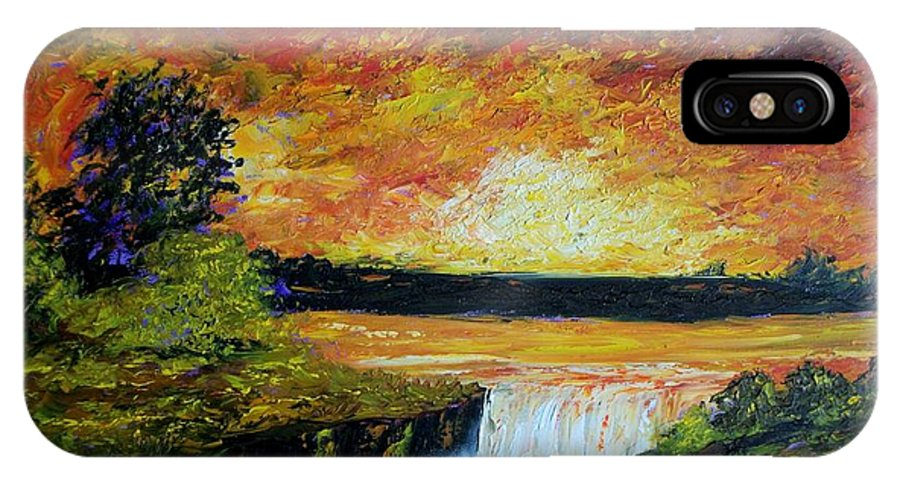 Sunset IPhone X Case featuring the painting Sunset Over The Lake by Tami Booher