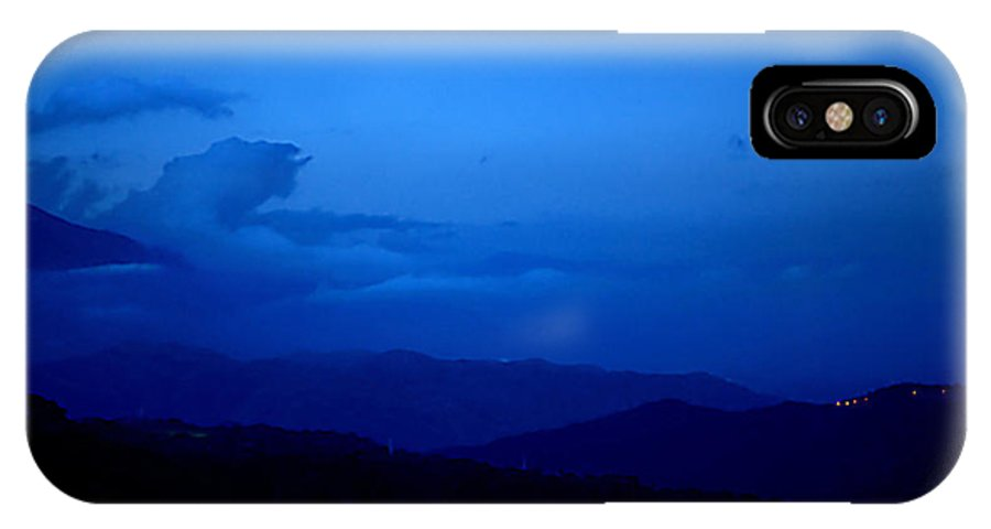 Sunset Mountains Light Clouds Sky Blue Black IPhone X Case featuring the photograph Sunset Over The Mountains by Galeria Trompiz