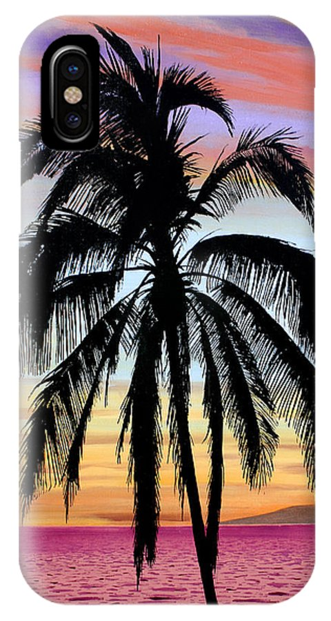 Painting IPhone X Case featuring the painting Sunset Palm Maui by Pierre Leclerc Photography