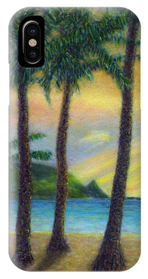 Rainbow Colors Pastel IPhone Case featuring the painting Sunset Palms by Kenneth Grzesik