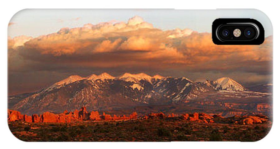 Moab IPhone X Case featuring the photograph Sunset Panorama In Arches National Park by Dan Norris