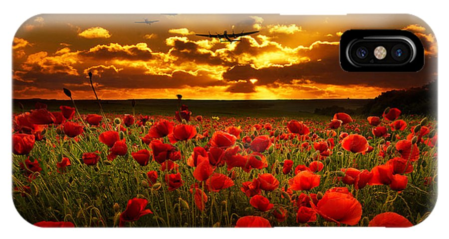 Avro IPhone X Case featuring the digital art Sunset Poppies The Bbmf by Airpower Art