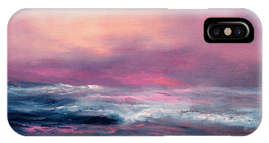 Seascape IPhone Case featuring the painting Sunset Sea by Sally Seago