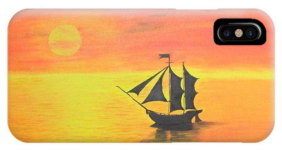 Sunrise IPhone X Case featuring the painting Sunrise Sea Ship Sss by Riya Rathore