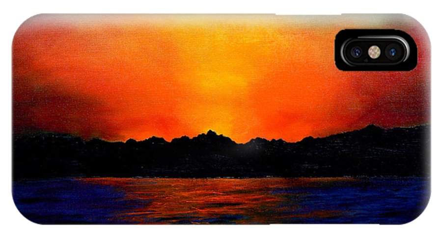 Sinai Sunset IPhone X Case featuring the painting Sunset Sinai by Helmut Rottler