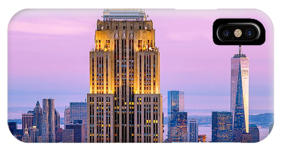Empire State Building IPhone X Case featuring the photograph Sunset Skyscrapers by Az Jackson
