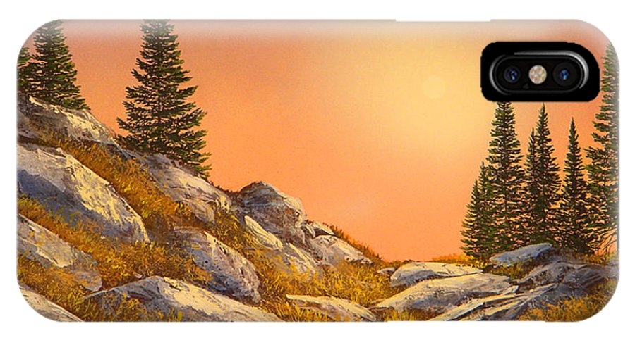 Mountains IPhone X Case featuring the painting Sunset Spruces by Frank Wilson