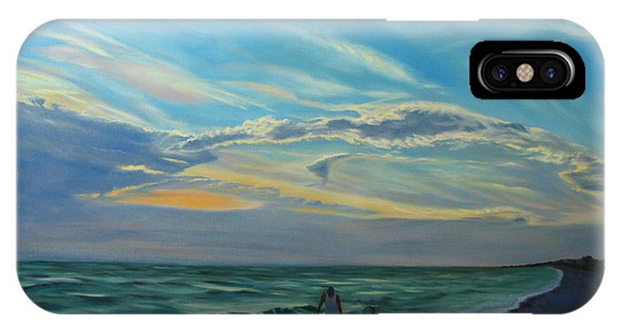 Seascape IPhone X Case featuring the painting Sunset Treasure Hunt by Lea Novak