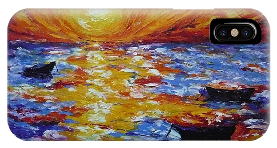 Landscape IPhone Case featuring the painting Sunset With Three Boats by Ericka Herazo