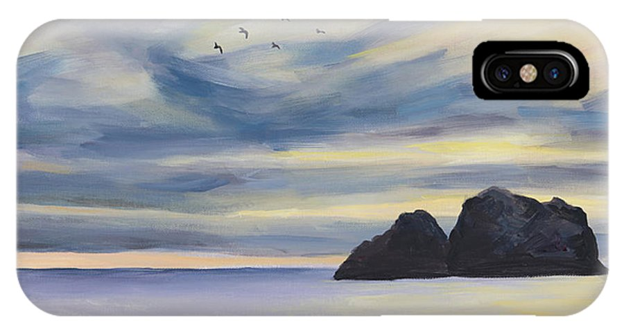 Seascape IPhone X Case featuring the painting Sunset by Youngjin Hwang