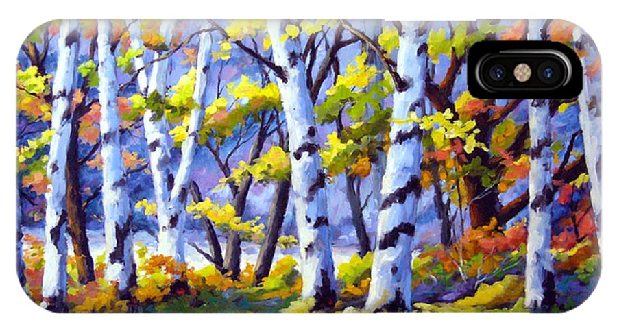 Art IPhone X Case featuring the painting Sunshine And Birches by Richard T Pranke