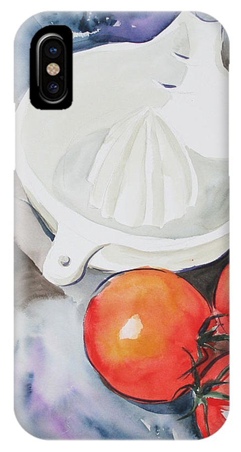 Tomatoes IPhone X Case featuring the painting Sunshine On The Vine by Jean Blackmer