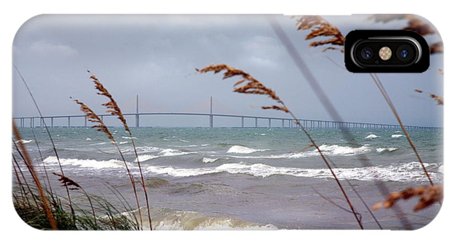Sunshine IPhone X Case featuring the photograph Sunshine Skyway Bridge Viewed From Fort De Soto Park by Mal Bray