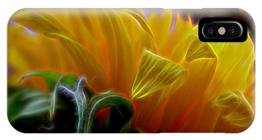 Composition IPhone X Case featuring the digital art Sunshine Sunflower Petals Two by Mo Barton