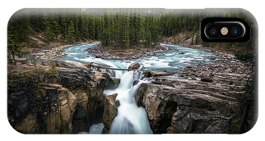 Alberta IPhone X Case featuring the photograph Sunwapta Falls In Jasper National Park by James Udall
