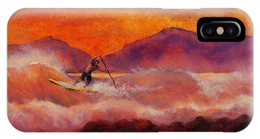 Standup Paddleboarding IPhone Case featuring the painting S.u.p. by Lynee Sapere