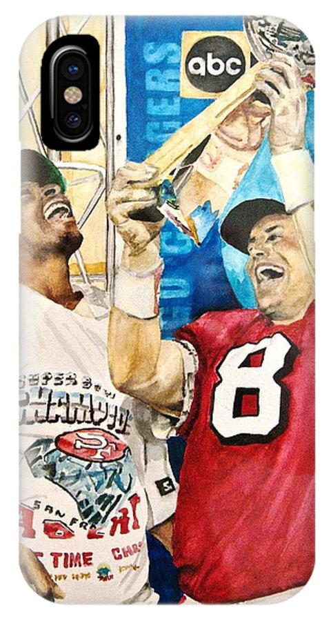Super Bowl IPhone X Case featuring the painting Super Bowl Legends by Lance Gebhardt