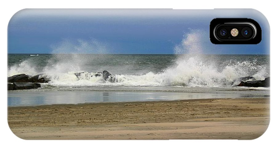 Nature IPhone X Case featuring the pyrography Surf Hitting Rocks 2 by Robert Morin