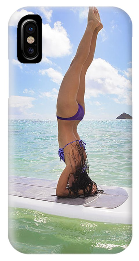 Active IPhone X Case featuring the photograph Surfboard Headstand by Tomas del Amo - Printscapes