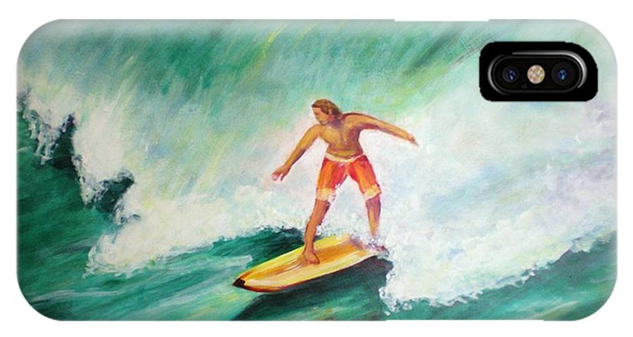 Surfer IPhone X Case featuring the painting Surfer Dude by Patricia Piffath