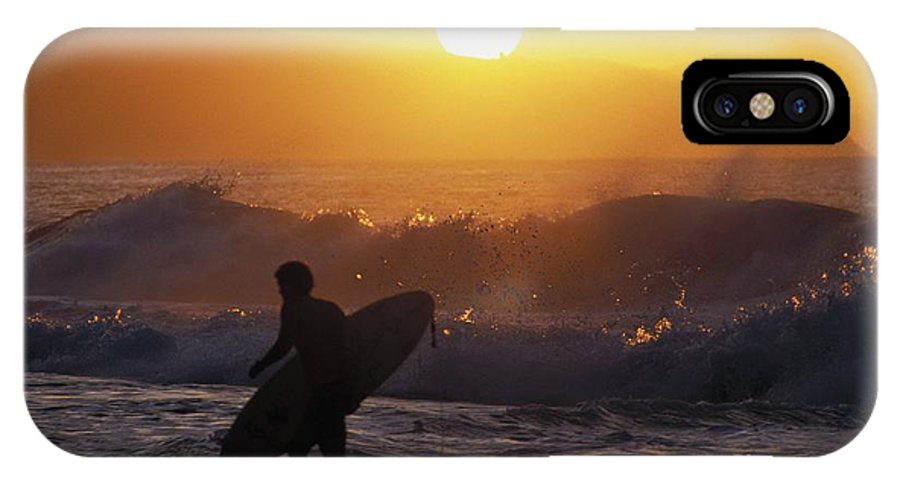 Ali O Neal IPhone X Case featuring the photograph Surfer Walking At Sunset by Ali ONeal - Printscapes