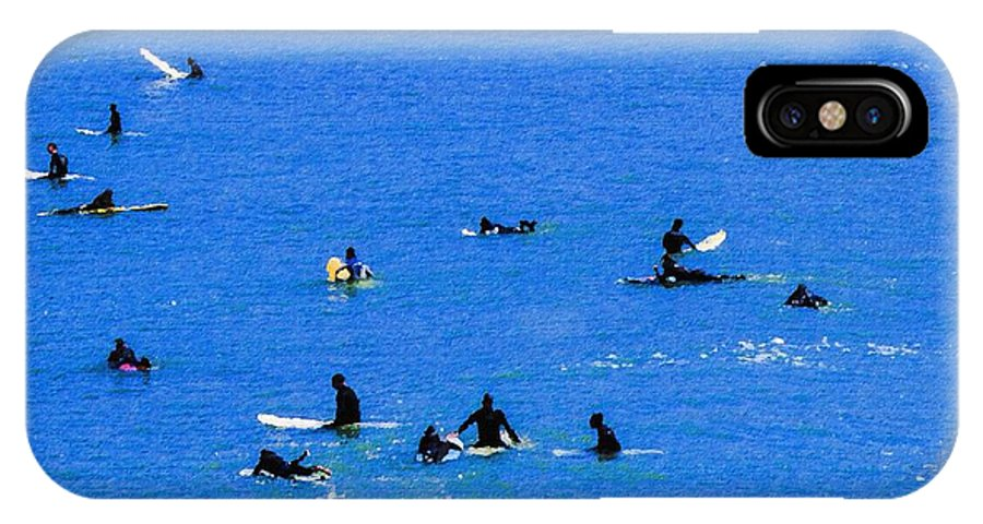 Water IPhone X Case featuring the photograph Surfers Waiting And Waiting by Bette Levine