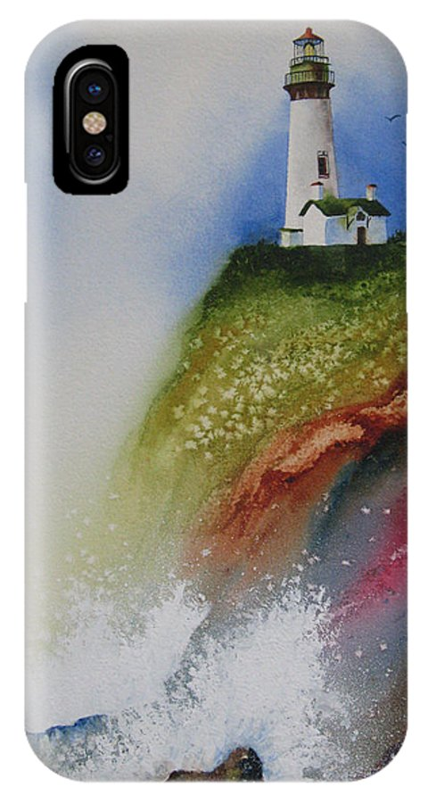 Lighthouse IPhone X Case featuring the painting Surfside by Karen Stark
