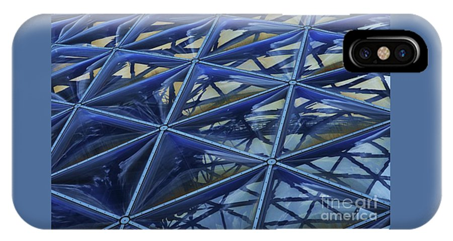 Glass Art Windows Surrealism Dome Reflections Metal Lattice Work Glass Panes Omaha Zoo Landmark Industrial Outdoors Metal Frame Canvas Print Poster Print Available On Shower Curtains Phone Cases Tote Bags T Shirts Mugs Weekender Tote Bags Throw Pillows And Pouches IPhone X Case featuring the photograph Surreal Dome Glass by Poet's Eye