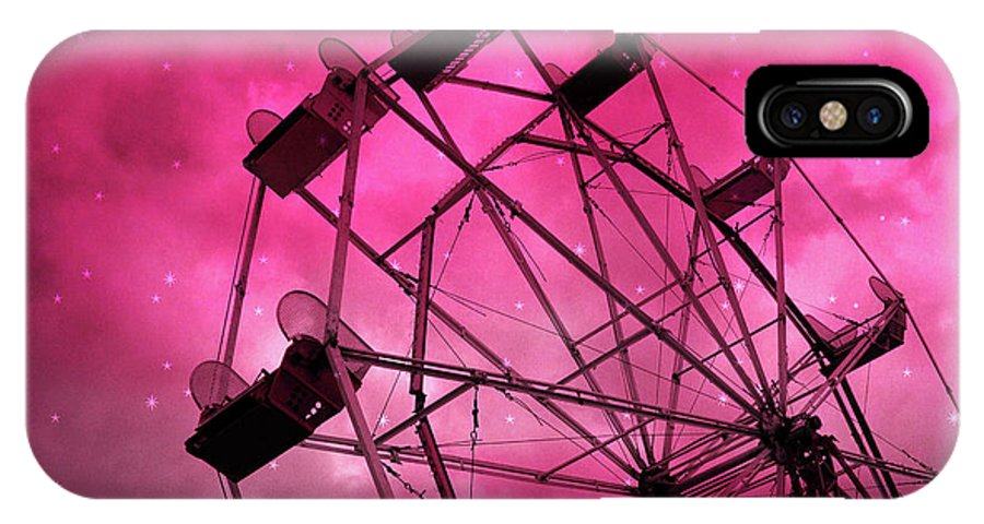 Red Pink Ferris Wheel Print IPhone X / XS Case featuring the photograph Surreal Fantasy Dark Pink Ferris Wheel Carnival Ride Starry Night - Pink Ferris Wheel Home Decor by Kathy Fornal