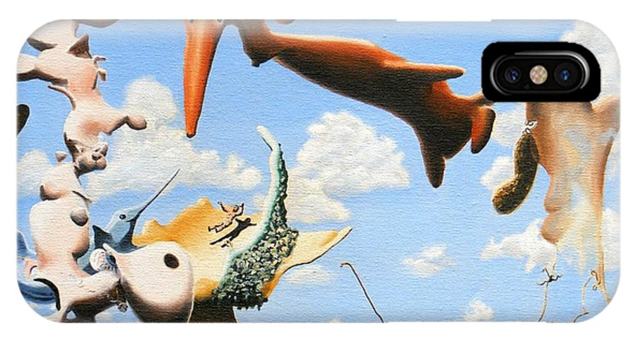 Surreal IPhone X Case featuring the painting Surreal Friends by Dave Martsolf