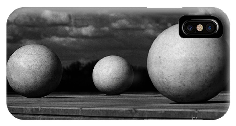 Black And White IPhone X Case featuring the photograph Surreal Globes by Peter Piatt
