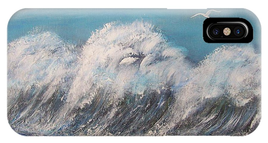 Surreal Tsunami IPhone X Case featuring the painting Surreal Tsunami by Tony Rodriguez